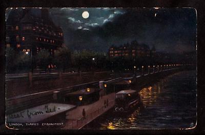 1906 tuck boat on thames river embankment london uk postcard