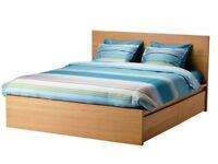 IKEA MALM oak veneer king size bed frame, 4 storage boxes, LEIRSUND luxury bed base