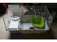 Nearly new rabbit guinea pig cage with food, bedding, treats and accessories