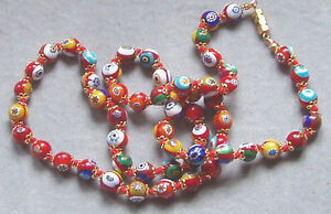 Vintage Murano Glass Beads MILLEFIORI CLASSIC NECKLACE