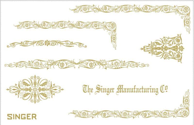 Custom Singer Featherweight 221 Sewing Machine Restoration Decals Gold Filigree