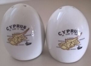 "Vintage Cyprus ""The Island of Venus"" White Porcelain Egg Shakers"