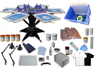 6 Color Screen Printing Press Kit Silk Screen Printing Machine Carousel New
