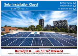 Solar installation class w/ certification -Weekend Jan. 13th