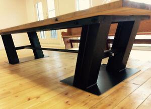 Table de cuisine, style industriel, bois massif , bois de grange