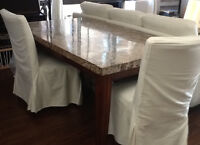 """LUXURIOUS MARBLE TABLE FROM TURKEY (70"""" L ) +SERVER+WINE RACK"""
