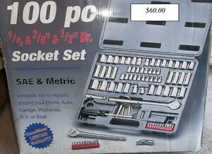 """100 PC SOCKET SET 1/4"""" - 3/8"""" - 1/2"""" DR NEVER BEEN USED"""