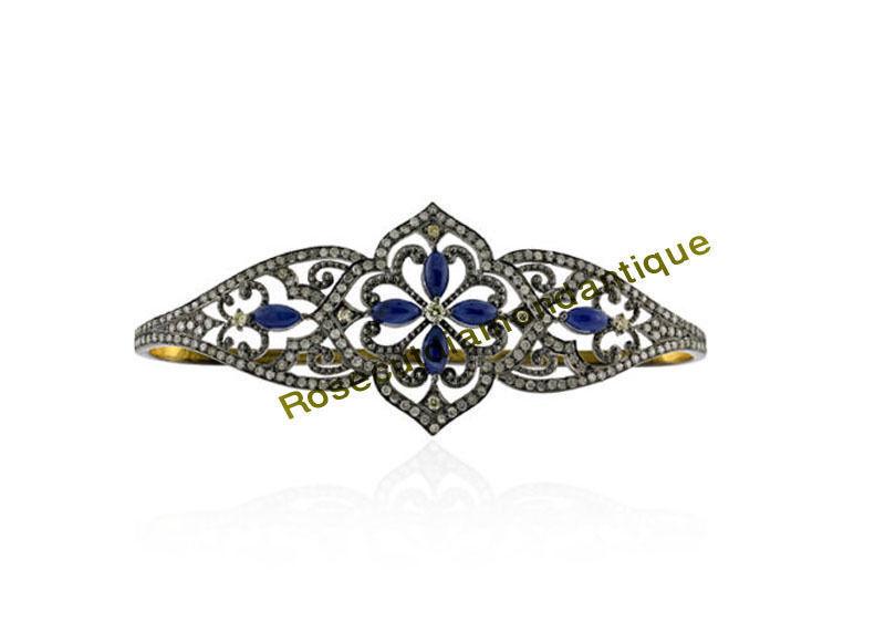 INSPIRED SILVER ANTIQUE ROSE CUT 4.30ct DIAMOND SAPPHIRE VINTAGE DESIGN BRACELET