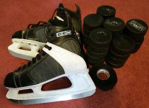 Hockey Skates, Tape & Plastic Blade