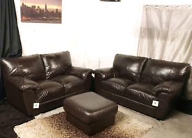 New ex display dfs dark brown 2+2 seater sofas with footstool