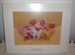 Anne Geddes 3 babies wood mounted picture