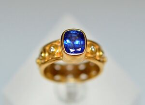 Sapphire & Diamond Ring, 18K Yellow Gold, Value $5,900