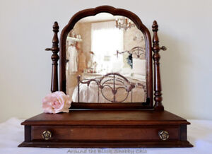 Antique shabby chic swivel mirror with single drawer