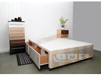 BRAND NEW 4ft6 DOUBLE/4ft SMALL DOUBLE DIVAN BED BASE + 2 STORAGE DRAWERS + HEADBOARD