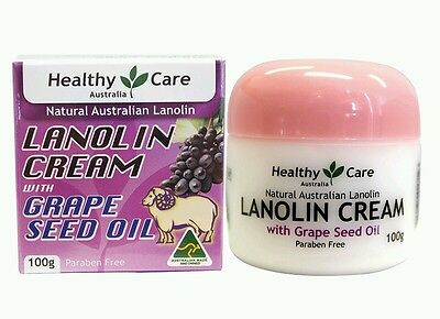 2 ×Healthy Care Lanolin Cream With Grape Seed 100g - OzHealthExperts (Healthy Care Lanolin Cream With Grape Seed)
