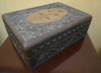 4U2C VINTAGE EAST INDIAN HAND CARVED BOX WITH BRASS INLAY MOTIF