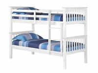 BUNK BED WHITE SPLITS INTO TWO SINGLE BEDS