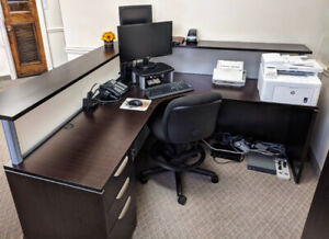Dark Chestnut Office Desk (L-Shaped)