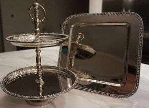 2-Tier Cake Stand and Charger with Rhinestone Embellishment
