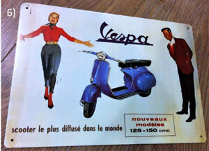 French Vespa (Scooter) Ad Metal Plaque/Sign