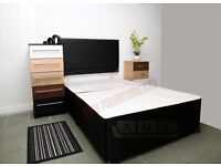 """*BRAND NEW* 4ft 6"""" Double BLACK DIVAN BED BASE + HEADBOARD, Also available in other sizes"""
