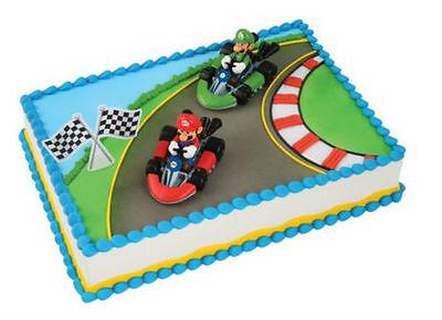 Super Mario Bros Luigi cake decoration Decoset cake topper set toy cars