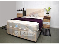 Cheap Double Divan Bed Base With 4ft6 9inch thick Deep Quilt Mattress, Storage Drawers and Headboard
