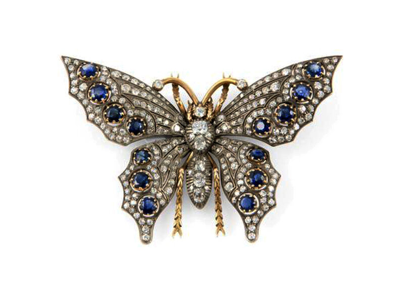 ANTIQUE ROSE CUT DIAMOND 3.42ct SILVER SAPPHIRE VINTAGE BUTTERFLY DESIGN BROOCH
