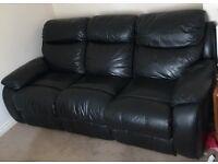 Black Three Seater Leather Twin Recliner Sofa