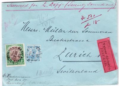 India SG#214,#208-BOMBAY 13/JAN/28-REGISTERED(Label-rev)-INSURED-VALEUR for sale  Shipping to India