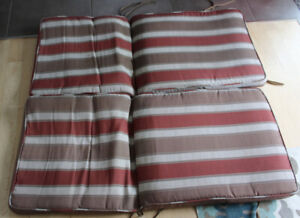 Pair of patio seat cushions for high back chairs $ 8 for both