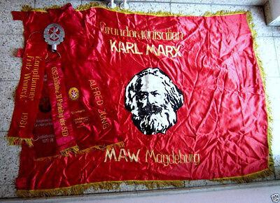 GST Truppenfahne Sektion Karl Marx MAW Magdeburg mit Schleifen und Spitze Top!