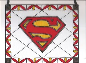 Superman Man Of Steel Emblem Stained Glass Painting Home Decor