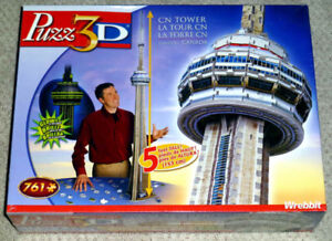 Hasbro Puzz 3D 5 Foot Tall CN Tower Glow In The Dark Puzzle New