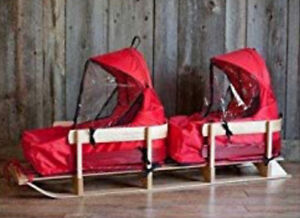 Double kids sled with windshields