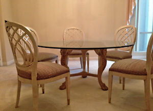 Glass Dining Table and Six Chairs - $80.00 obo.
