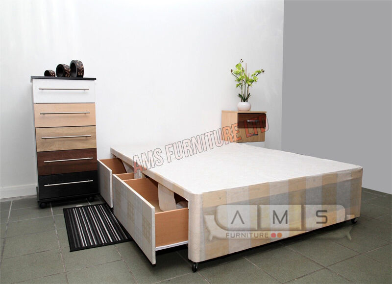 brand new 4ft6 double4ft small double divan bed base 2 storage drawers