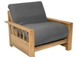 Brand New Solid Oak Single Vienna Futon Sofa Bed