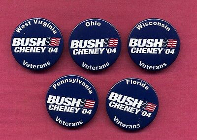 GEORGE W BUSH POLITICAL BUTTONS VETERANS SET FROM 2004  # 102