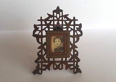 Late 19th Century Mahogany Fretwork Photo Frame with Tunbridge Ware Inlay