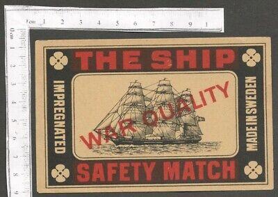 AOP THE SHIP WAR QUALITY vintage large packet size Matchbox Label