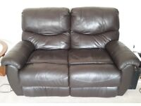 Two Seater Recliner Chocolate Brown Leather Sofa