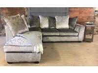 New Silver Crushed Velvet Corner Sofa, Can Deliver