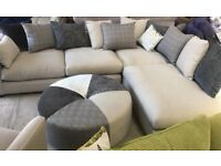 Large DFS corner fabric sofa, armchair and Footstool