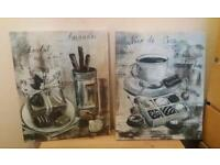 X2 canvas pictures french cafe bistro coffee & chocolate ☕