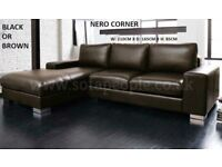 Corner Nero Leather sofa black or brown many other sofas on offer call now to order fast delivery
