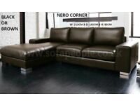 Nero Leather Corner Sofa In Black Or Brown Lots More Sofas On Offer Bed