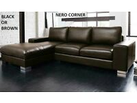 SAT DELIVERY only £200 NERO CORNER SOFA BLACK OR BROWN plus many other sofas now also bed beds