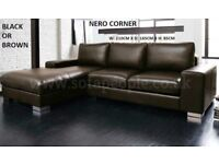 Black or brown leather Nero corner sofa, great sofas, many more on offer, call now