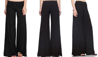 Women's Wide Leg Palazzo Pants Pull On Casual Lounge Soft Stretch Knit Solids Knit Pant Casual Pants